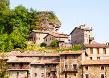 Old picturesque houses of medieval Catalan village Royalty Free Stock Photos