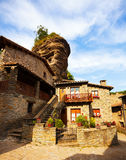 Old picturesque houses in medieval Catalan village Royalty Free Stock Image