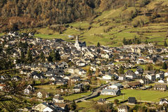 Old picturesque houses of medieval Laruns village in Pyrenees. f Stock Photo