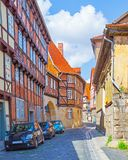 Old picturesque street in Quedlinburg royalty free stock images
