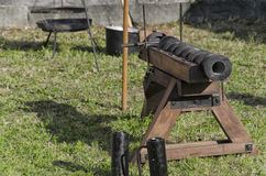 Old piece of artillery in medieval fair Stock Photo