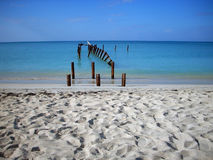 Old pier. In Caribbean sea Royalty Free Stock Images