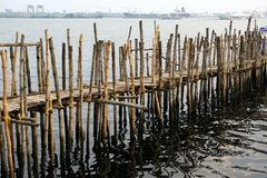Old pier for boats made of bamboo, Cochin, Kerala, India Stock Image