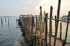 Old pier for boats made ​​of bamboo, Cochin, Kerala, India Royalty Free Stock Photography