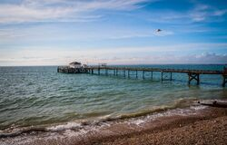 Free Old Pier In Totland Bay At The Isle Of Wight, UK Royalty Free Stock Photos - 189918168