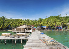 Old pier of koh rong island in cambodia Royalty Free Stock Photos