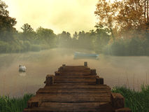 Old pier in the lake. Very high resolution photorealistic illustration of an old pier in a lake Stock Photos