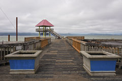 Old pier and lookout tower Astoria Oregon. Stock Image