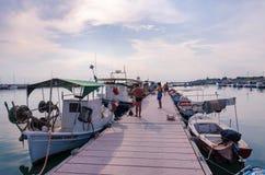 Old pier in Nea Kallikratia, Halkidiki, Greece Stock Photos