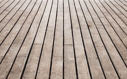 Old pier perspective, brown wooden floor Royalty Free Stock Photos
