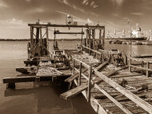 Old pier at the Philadelphia Navy Yard Royalty Free Stock Images