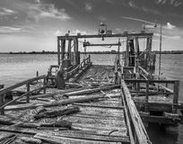 Old pier at the Philadelphia Navy Yard Stock Images