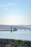 Old pier pillars in the ocean Stock Photos