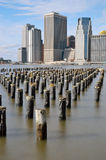 Old pier pylons. Royalty Free Stock Photos