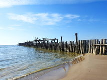 Old pier remains , Lithuania Royalty Free Stock Photography