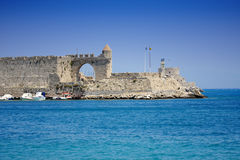 Old pier in Rhodes Stock Photo