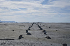 Old Pier road. A long view down the old pier in the great salt lake Stock Photography