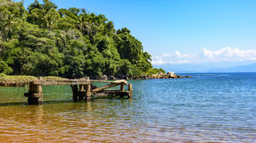 Old pier with the sea and forest. Old pier with th meeting between the rain forest and the clear sea of the green coast of Rio de Janeiro Stock Images