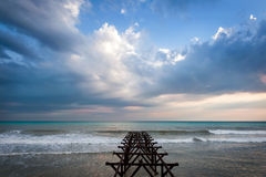 Old pier in the sea and sky Royalty Free Stock Photography