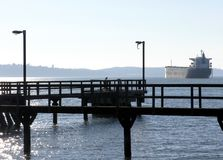 Old Pier and Ship Royalty Free Stock Photography