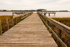 Old Pier Into Wetland Mash Stock Photography