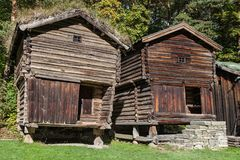 Old Pillared Storehouses from Osterdal Royalty Free Stock Photos
