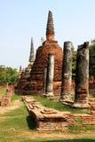 Old Pillars & Pagodas. Old ruins of pillars and pagodas in Ayutthaya in Thailand Stock Photos