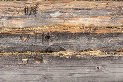 Free Old Pine Logs Of Wooden House With Numerals Royalty Free Stock Photos - 68386068