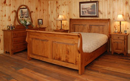 Old pine wood bedroom set Royalty Free Stock Photos