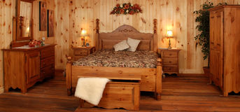 Old pine wood bedroom set Stock Images