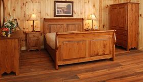 Old pine wood Bedroom set Royalty Free Stock Photography