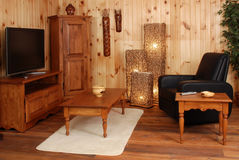 Old Pine Wood Living Set Royalty Free Stock Images