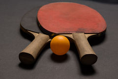 Old pingpong paddles and ball. Stock Photography