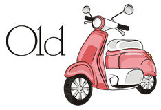 Old pink moped. Pink moped with black word old Royalty Free Stock Images
