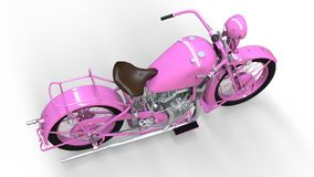 An old pink motorcycle of the 30s of the 20th century. An illustration on a white background with shadows from on a plane. An old pink motorcycle of the 30s of Stock Photography