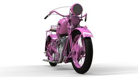 An old pink motorcycle of the 30s of the 20th century. An illustration on a white background with shadows from on a plane. An old pink motorcycle of the 30s of Stock Image
