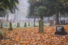 Old Pioneer Cemetery in fog Stock Image