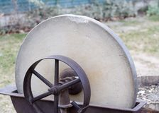 Old Pioneer Era Grindstone Closeup Stock Images