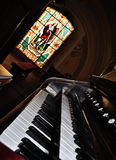 An old pipe organ keyboard Stock Photo
