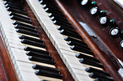 An old pipe organ keyboard Royalty Free Stock Image