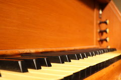 Old pipe-organ keyboard Royalty Free Stock Photos