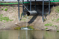 The old pipe with to flow water Royalty Free Stock Images