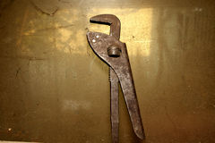 Old pipe wrench Royalty Free Stock Image