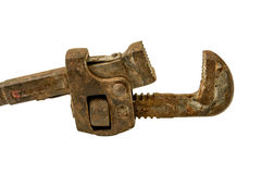 Old pipe wrench on white Stock Photography