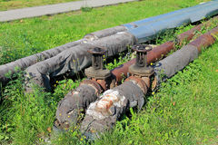 Old pipes of heating Stock Photography
