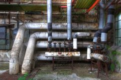 Old pipes with valves Stock Photography