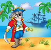 Old pirate on beach Royalty Free Stock Image