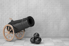 Old Pirate Cannon. 3d Rendering. Old Pirate Cannon in front of Brick Wall. 3d Rendering Royalty Free Stock Photos