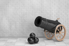 Old Pirate Cannon. 3d Rendering. Old Pirate Cannon in front of Brick Wall. 3d Rendering Stock Photos