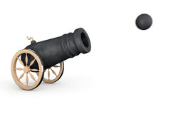 Old Pirate Cannon. On a white background Royalty Free Stock Photography
